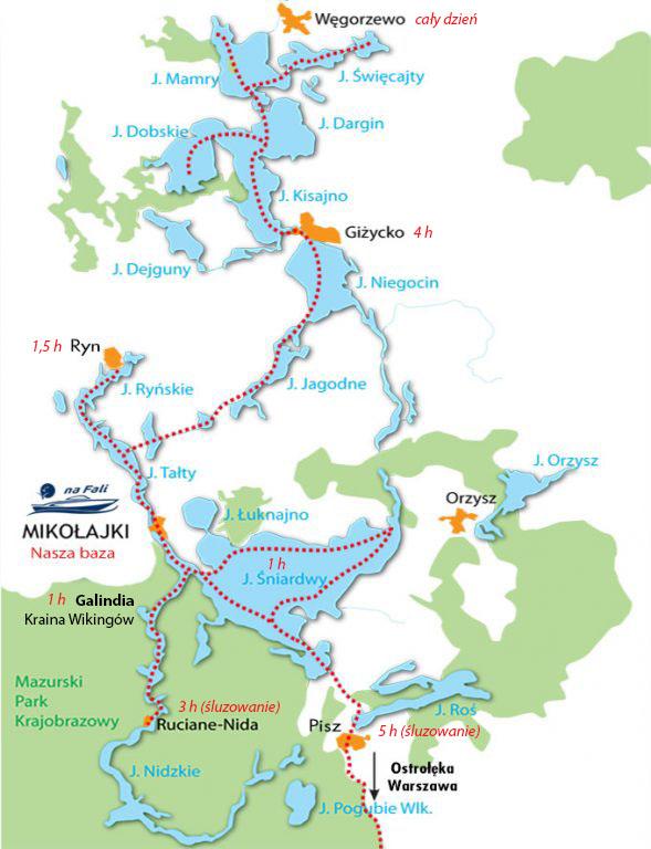 mapa rejsow motorowka pomazurach
